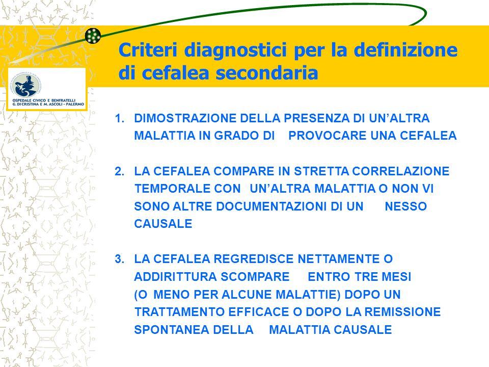Criteri diagnostici per la definizione di cefalea secondaria