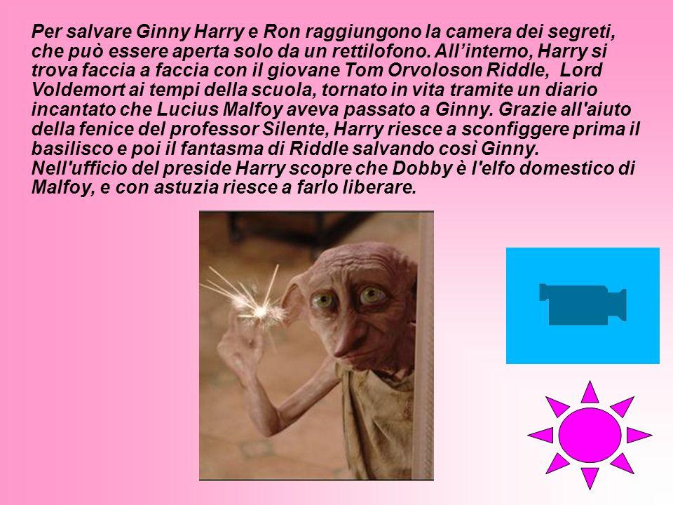 Per salvare Ginny Harry e Ron raggiungono la camera dei segreti, che può essere aperta solo da un rettilofono. All'interno, Harry si trova faccia a faccia con il giovane Tom Orvoloson Riddle, Lord Voldemort ai tempi della scuola, tornato in vita tramite un diario incantato che Lucius Malfoy aveva passato a Ginny. Grazie all aiuto della fenice del professor Silente, Harry riesce a sconfiggere prima il basilisco e poi il fantasma di Riddle salvando così Ginny.