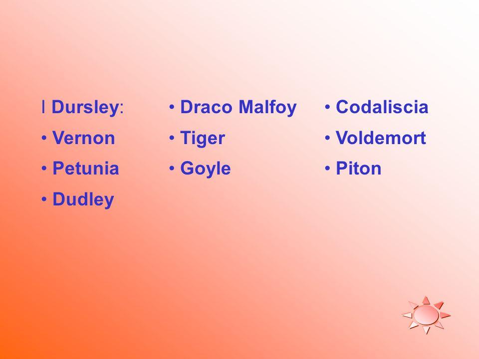 I Dursley: Vernon Petunia Dudley Draco Malfoy Tiger Goyle Codaliscia Voldemort Piton