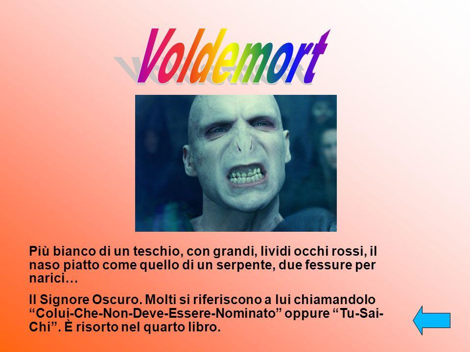 Voldemort Più bianco di un teschio, con grandi, lividi occhi rossi, il naso piatto come quello di un serpente, due fessure per narici…