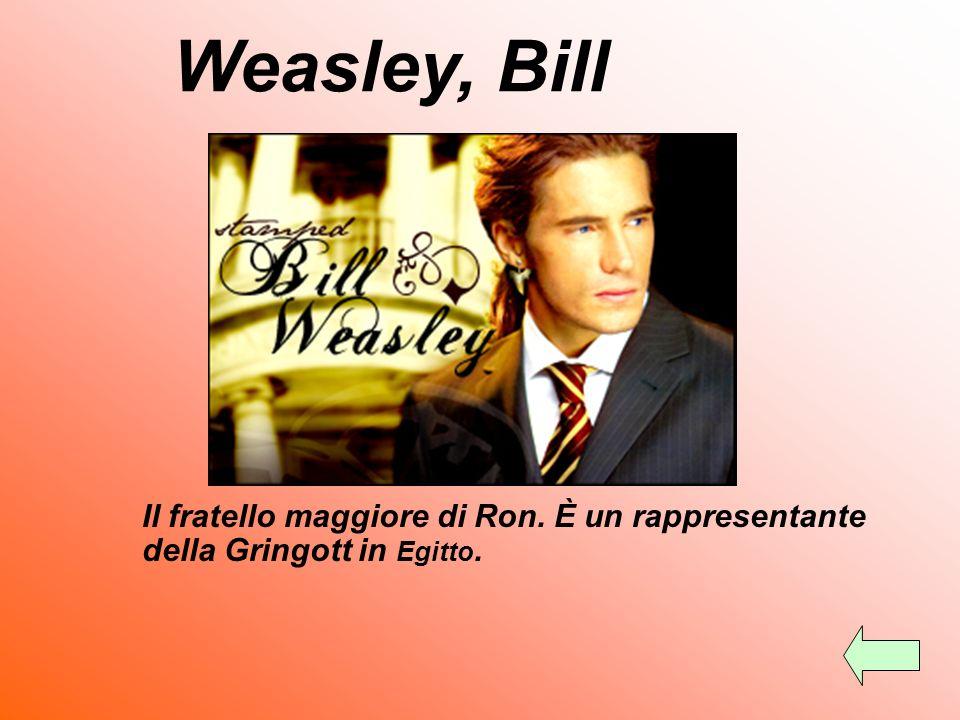 Weasley, Bill Il fratello maggiore di Ron. È un rappresentante della Gringott in Egitto.