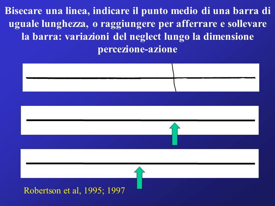 Bisecare una linea, indicare il punto medio di una barra di uguale lunghezza, o raggiungere per afferrare e sollevare la barra: variazioni del neglect lungo la dimensione percezione-azione