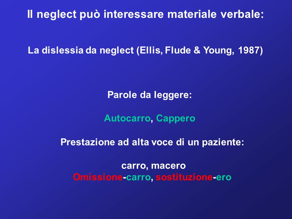 Il neglect può interessare materiale verbale:
