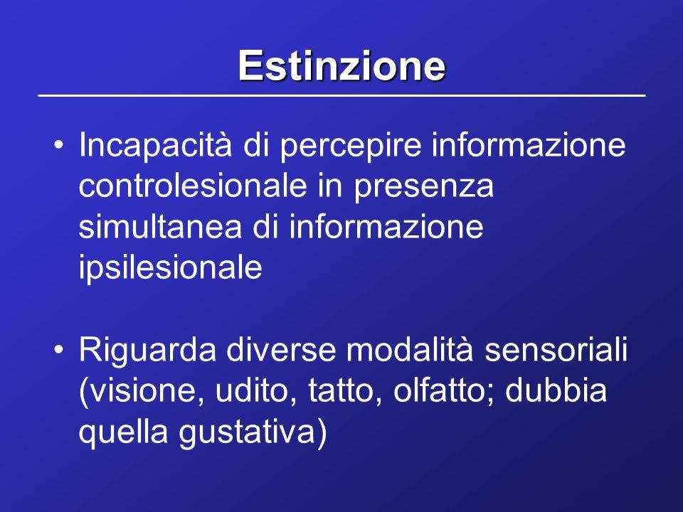 Estinzione Incapacità di percepire informazione controlesionale in presenza simultanea di informazione ipsilesionale.