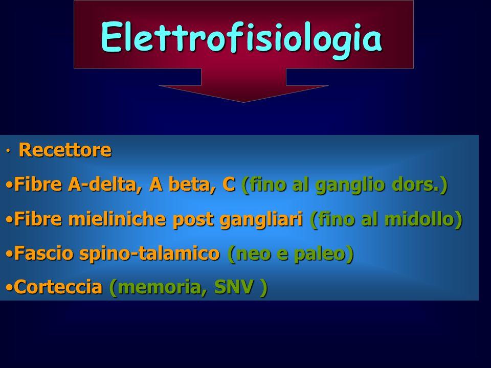 Elettrofisiologia Fibre A-delta, A beta, C (fino al ganglio dors.)