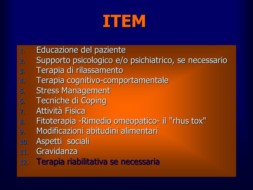 ITEM Educazione del paziente