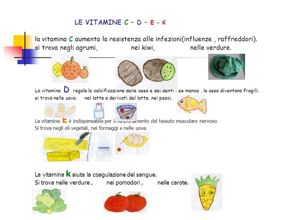 LE VITAMINE C – D – E - K la vitamina C aumenta la resistenza alle infezioni(influenze , raffreddori).