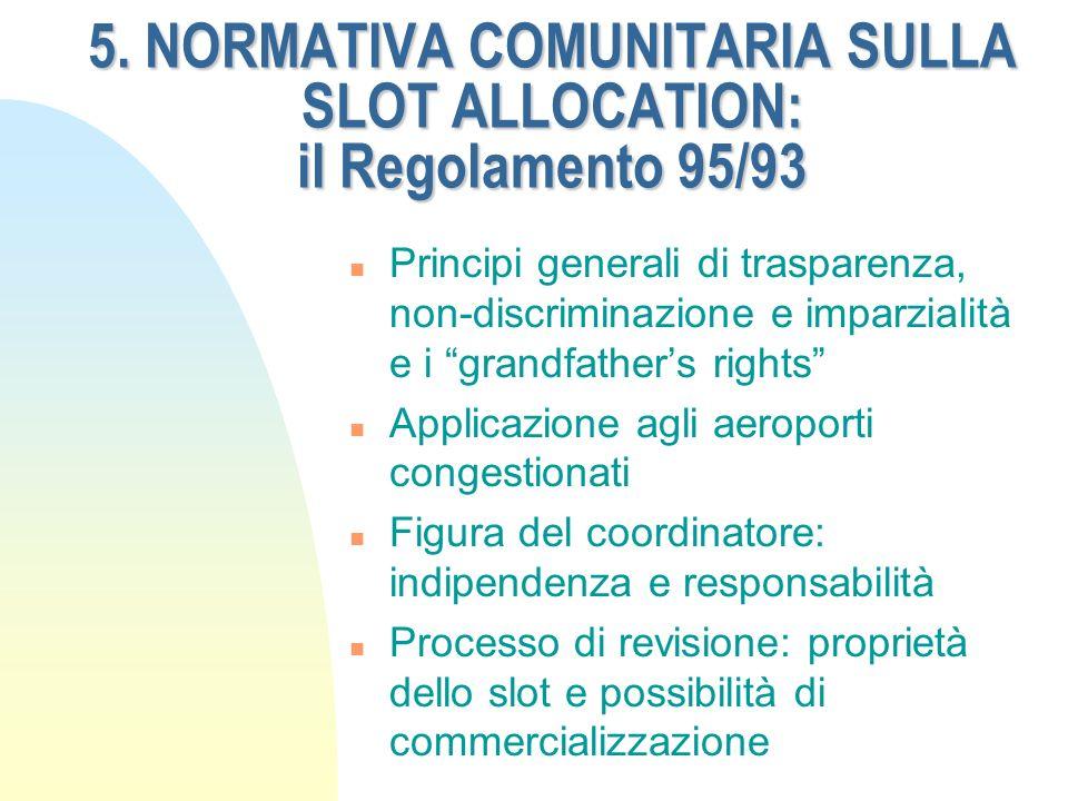 5. NORMATIVA COMUNITARIA SULLA SLOT ALLOCATION: il Regolamento 95/93