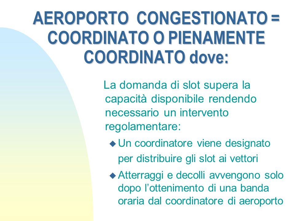 AEROPORTO CONGESTIONATO = COORDINATO O PIENAMENTE COORDINATO dove:
