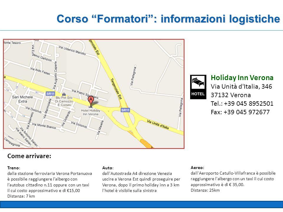 Corso Formatori : informazioni logistiche