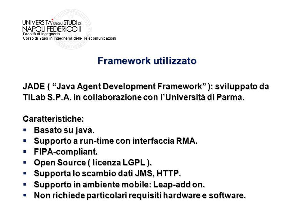 Framework utilizzato JADE ( Java Agent Development Framework ): sviluppato da. TILab S.P.A. in collaborazione con l'Università di Parma.