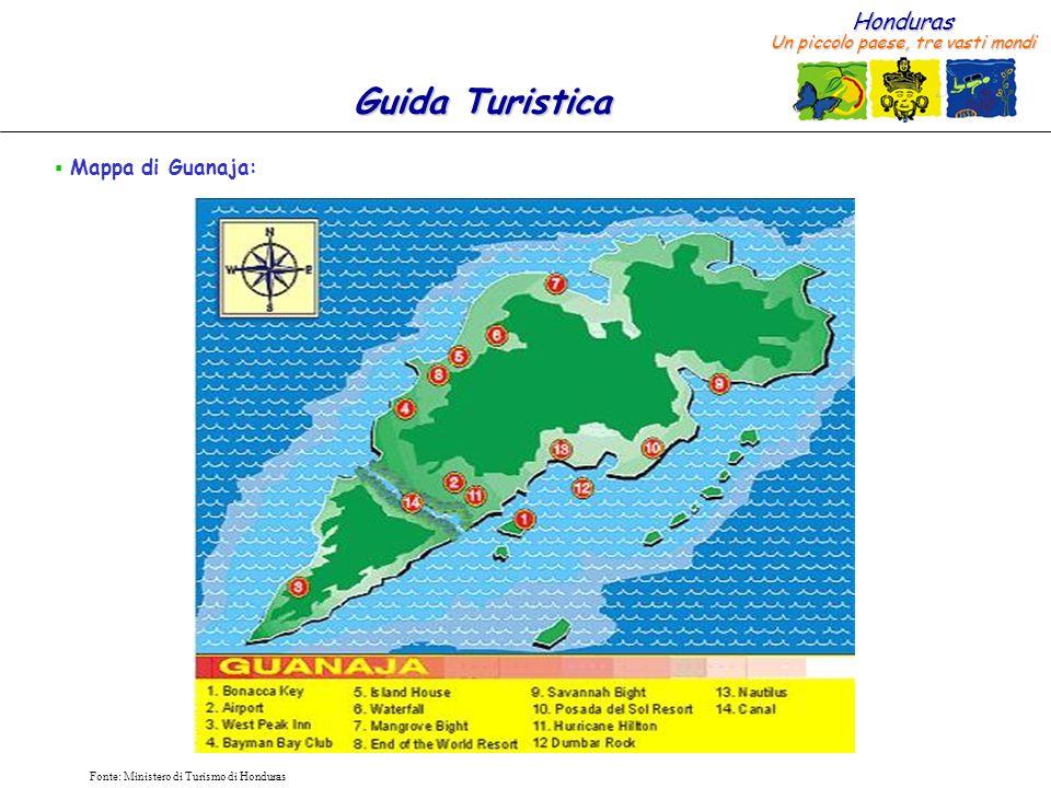 Mappa di Guanaja: Fonte: Ministero di Turismo di Honduras