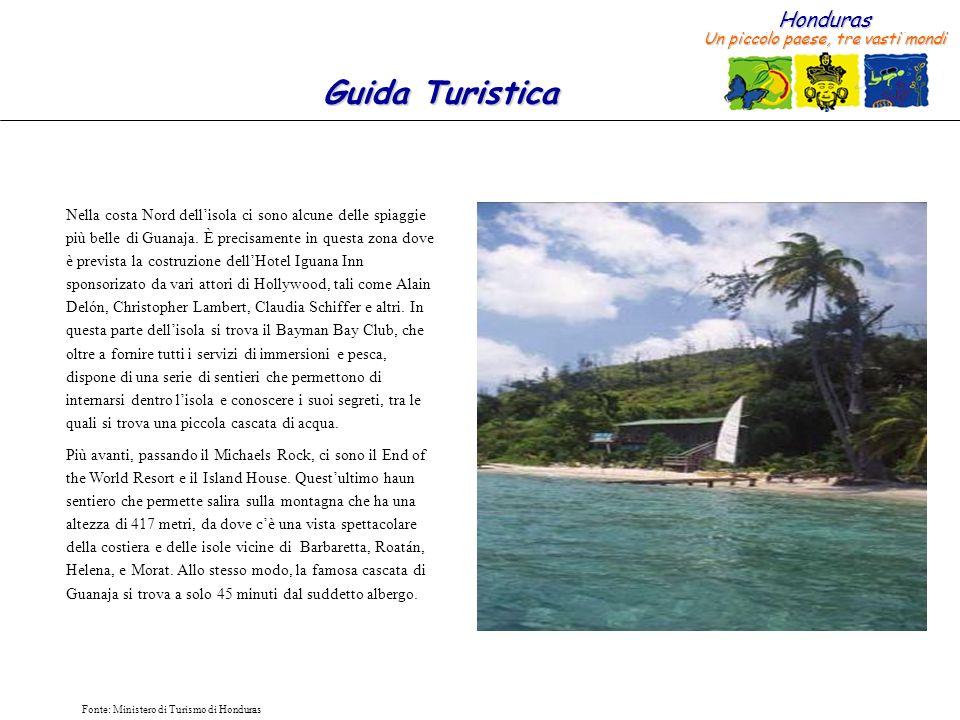 Nella costa Nord dell'isola ci sono alcune delle spiaggie più belle di Guanaja. È precisamente in questa zona dove è prevista la costruzione dell'Hotel Iguana Inn sponsorizato da vari attori di Hollywood, tali come Alain Delón, Christopher Lambert, Claudia Schiffer e altri. In questa parte dell'isola si trova il Bayman Bay Club, che oltre a fornire tutti i servizi di immersioni e pesca, dispone di una serie di sentieri che permettono di internarsi dentro l'isola e conoscere i suoi segreti, tra le quali si trova una piccola cascata di acqua.
