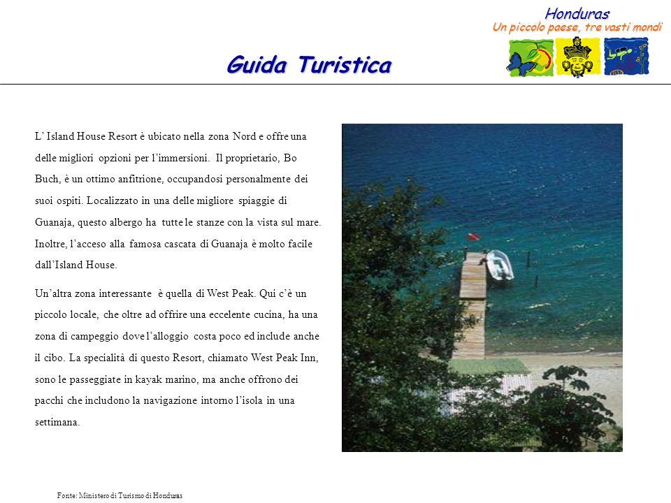 L' Island House Resort è ubicato nella zona Nord e offre una delle migliori opzioni per l'immersioni. Il proprietario, Bo Buch, è un ottimo anfitrione, occupandosi personalmente dei suoi ospiti. Localizzato in una delle migliore spiaggie di Guanaja, questo albergo ha tutte le stanze con la vista sul mare. Inoltre, l'acceso alla famosa cascata di Guanaja è molto facile dall'Island House.