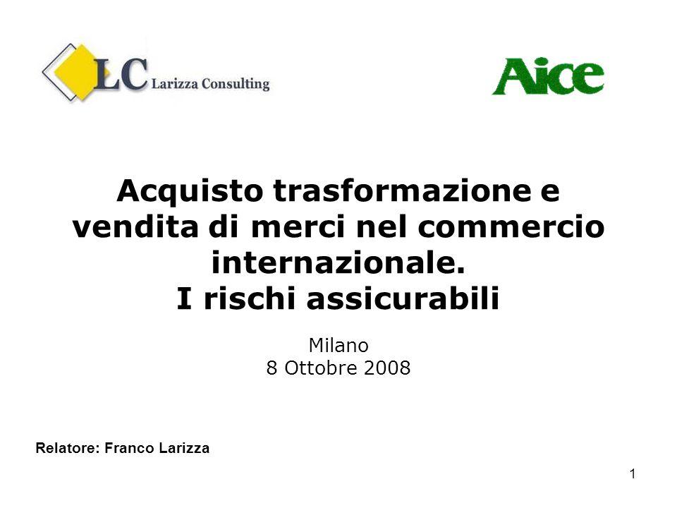 Acquisto trasformazione e vendita di merci nel commercio internazionale. I rischi assicurabili Milano 8 Ottobre 2008
