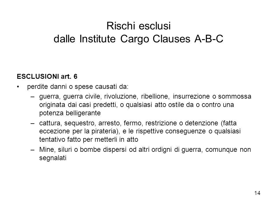 Rischi esclusi dalle Institute Cargo Clauses A-B-C
