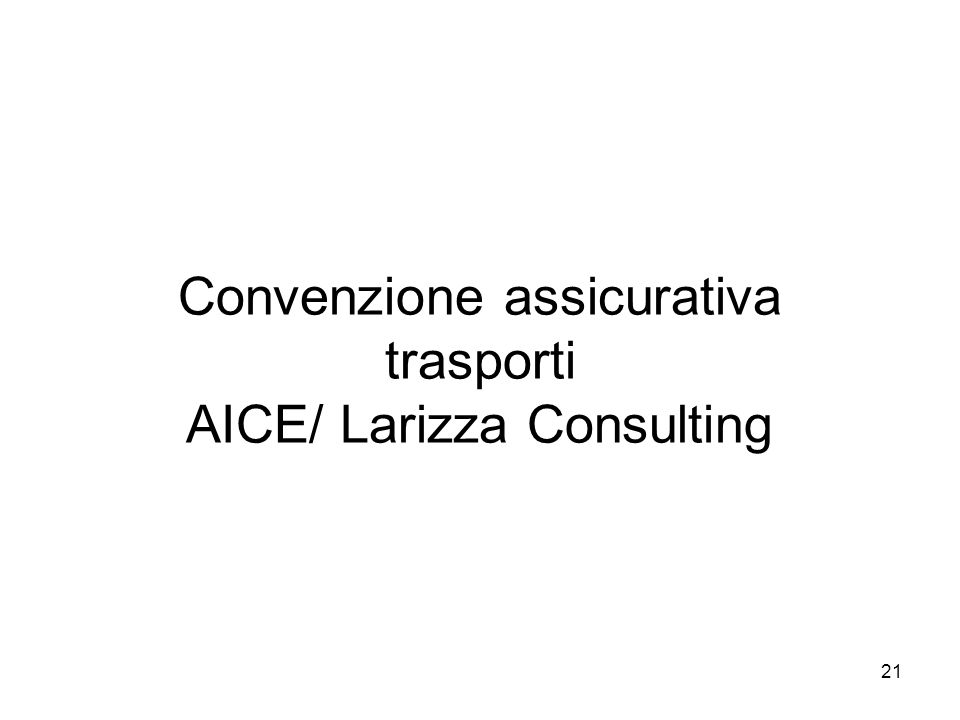 Convenzione assicurativa trasporti AICE/ Larizza Consulting