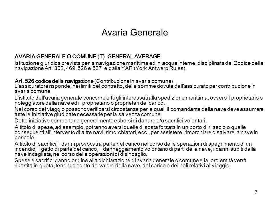 Avaria Generale AVARIA GENERALE O COMUNE (T) GENERAL AVERAGE