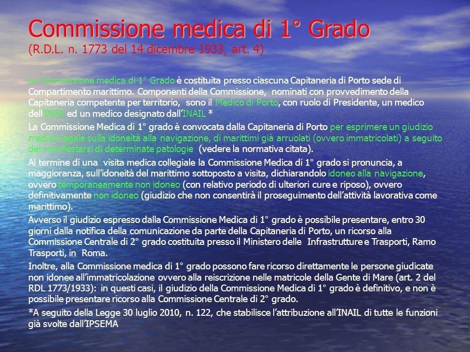 Commissione medica di 1° Grado (R. D. L. n
