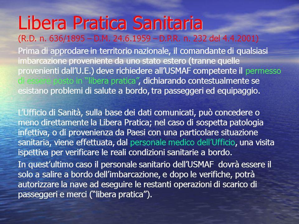 Libera Pratica Sanitaria (R. D. n. 636/1895 – D. M. 24. 6. 1959 – D. P