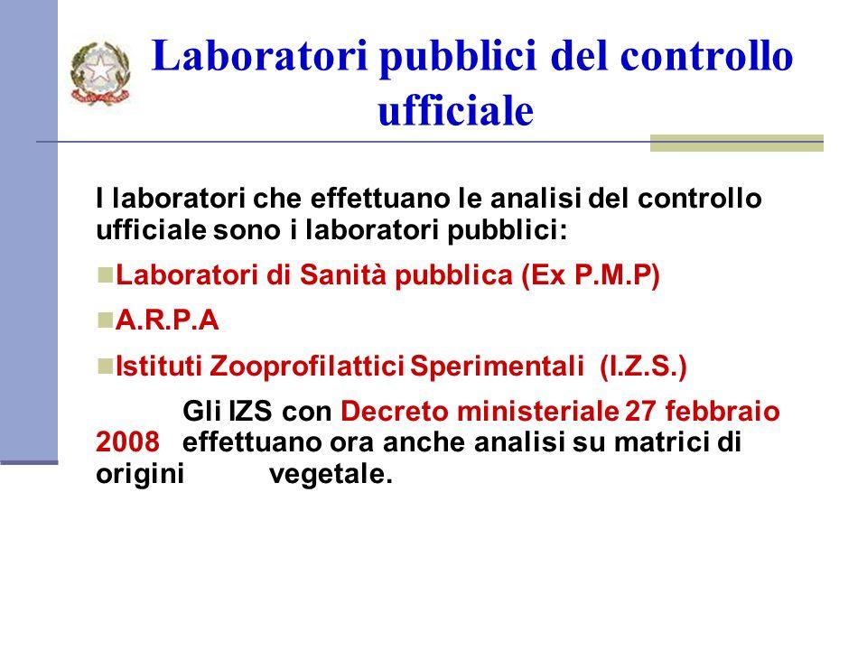 Laboratori pubblici del controllo ufficiale