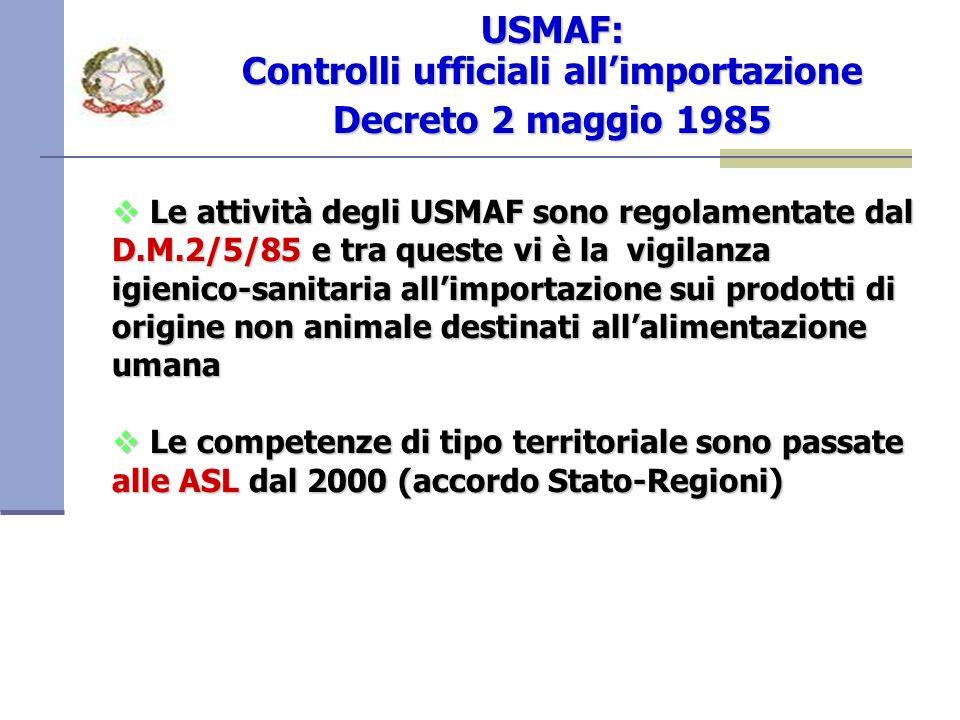USMAF: Controlli ufficiali all'importazione Decreto 2 maggio 1985
