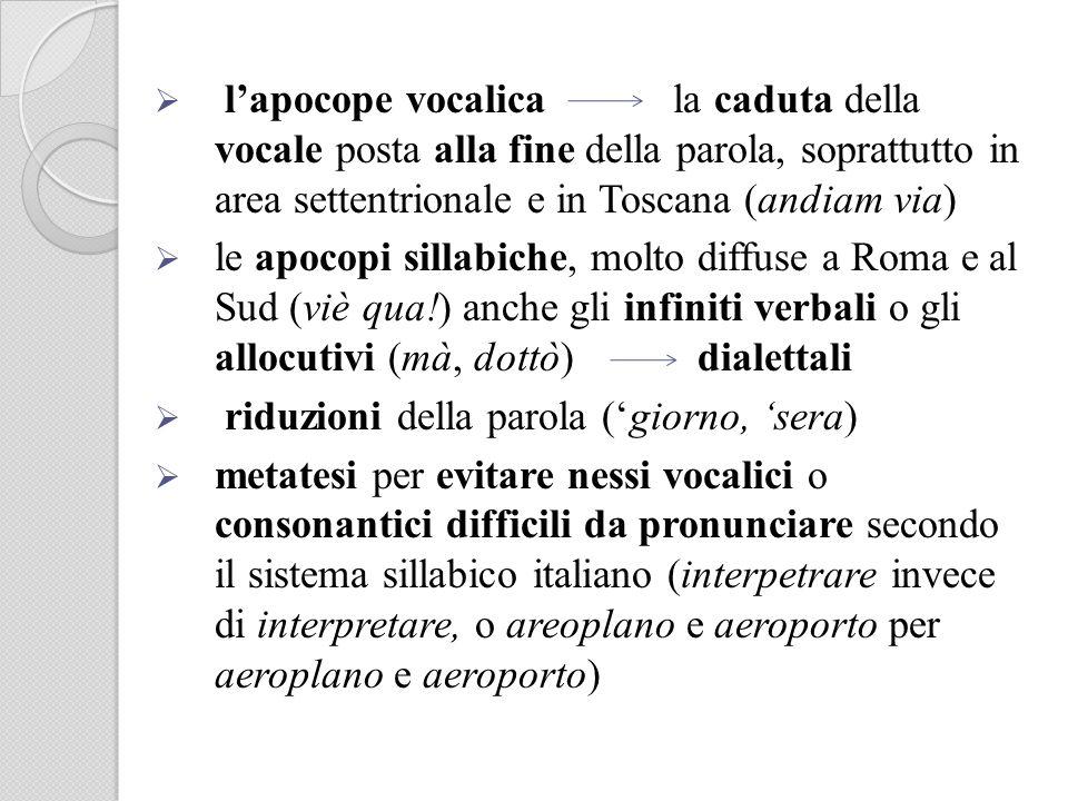 l'apocope vocalica la caduta della vocale posta alla fine della parola, soprattutto in area settentrionale e in Toscana (andiam via)