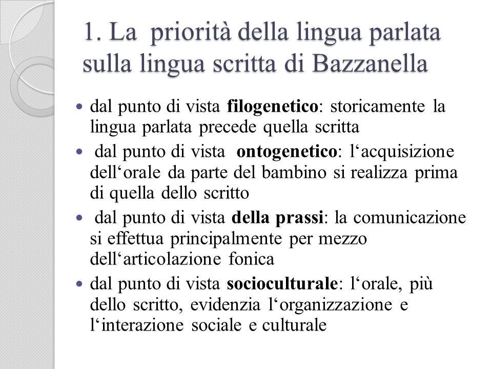 1. La priorità della lingua parlata sulla lingua scritta di Bazzanella