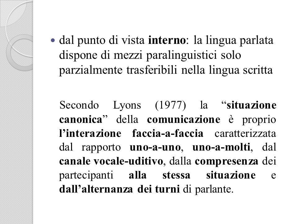 dal punto di vista interno: la lingua parlata dispone di mezzi paralinguistici solo parzialmente trasferibili nella lingua scritta