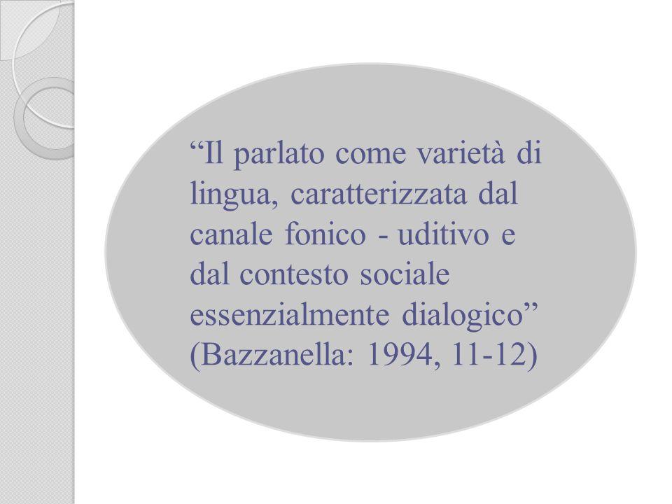 Il parlato come varietà di lingua, caratterizzata dal canale fonico - uditivo e dal contesto sociale essenzialmente dialogico (Bazzanella: 1994, 11-12)
