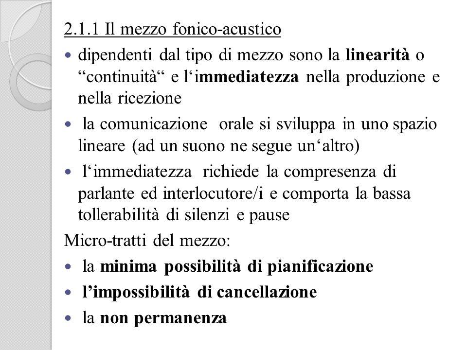 2.1.1 Il mezzo fonico-acustico