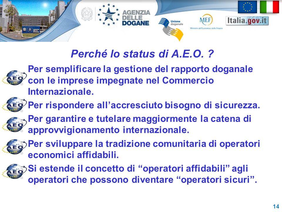 Perché lo status di A.E.O. Per semplificare la gestione del rapporto doganale con le imprese impegnate nel Commercio Internazionale.