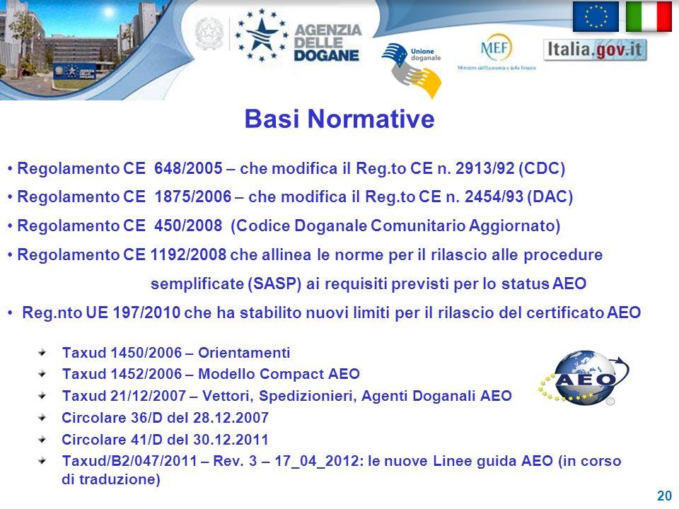 Basi Normative Regolamento CE 648/2005 – che modifica il Reg.to CE n. 2913/92 (CDC)
