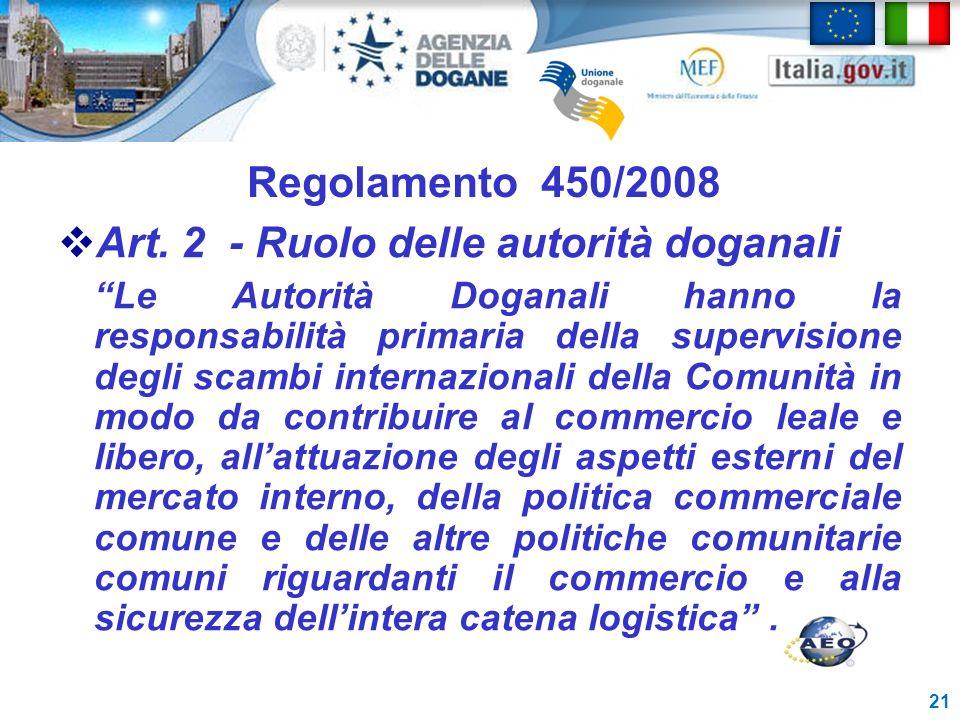 Art. 2 - Ruolo delle autorità doganali