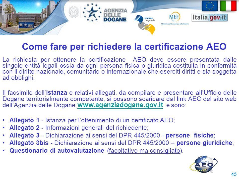 Come fare per richiedere la certificazione AEO