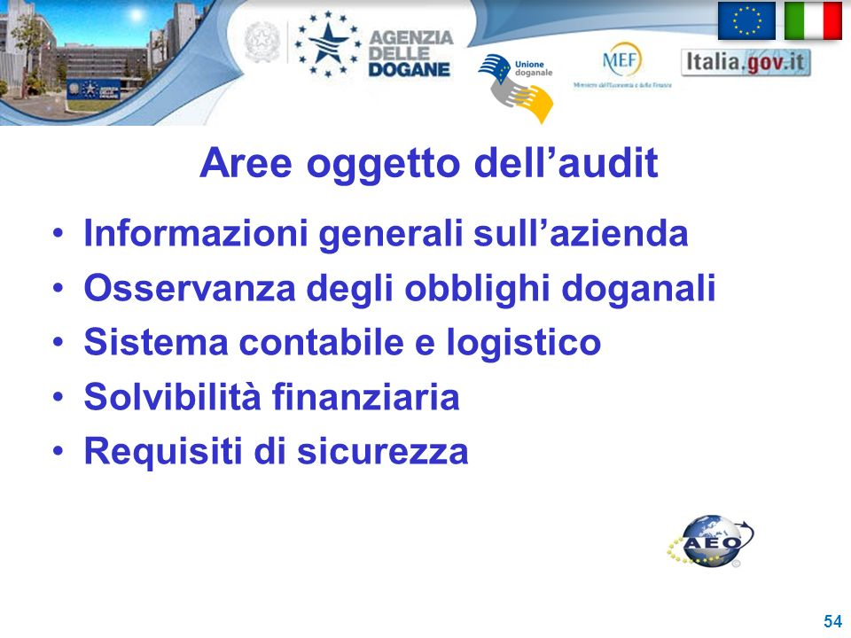 Aree oggetto dell'audit