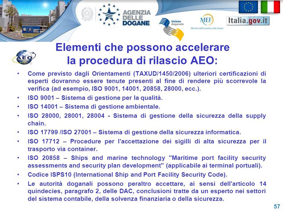 Elementi che possono accelerare la procedura di rilascio AEO: