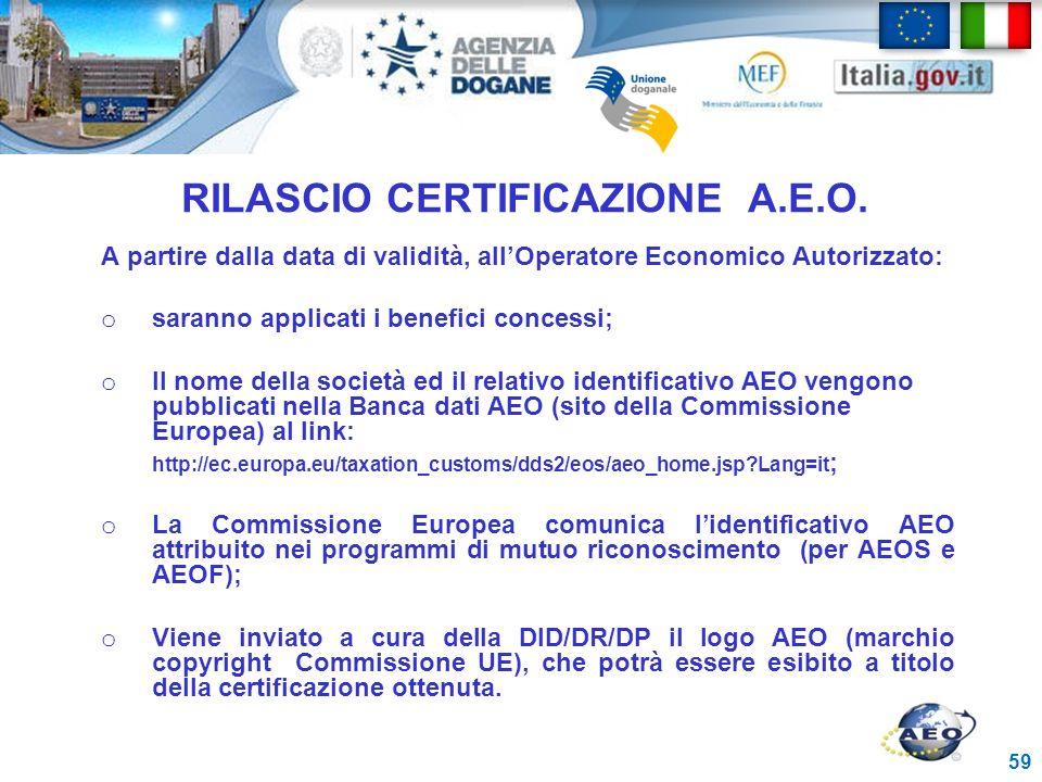 RILASCIO CERTIFICAZIONE A.E.O.