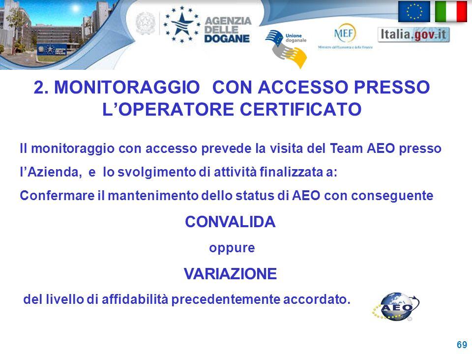 2. MONITORAGGIO CON ACCESSO PRESSO L'OPERATORE CERTIFICATO
