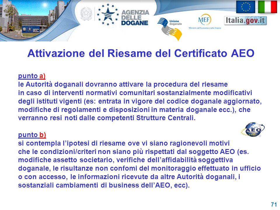 Attivazione del Riesame del Certificato AEO