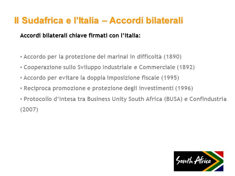 Il Sudafrica e l'Italia – Accordi bilaterali