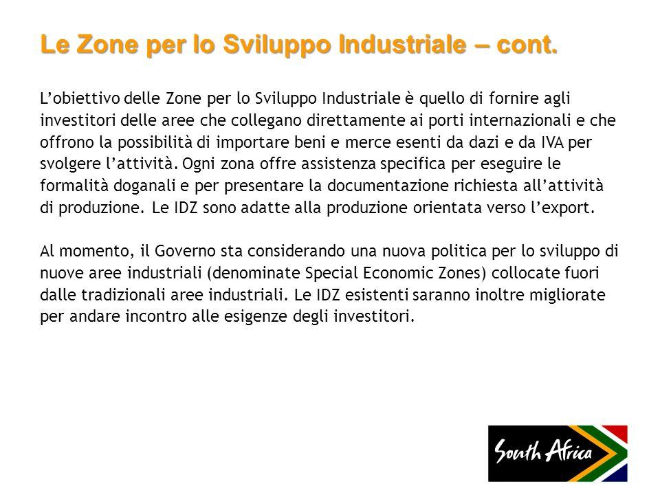 Le Zone per lo Sviluppo Industriale – cont.