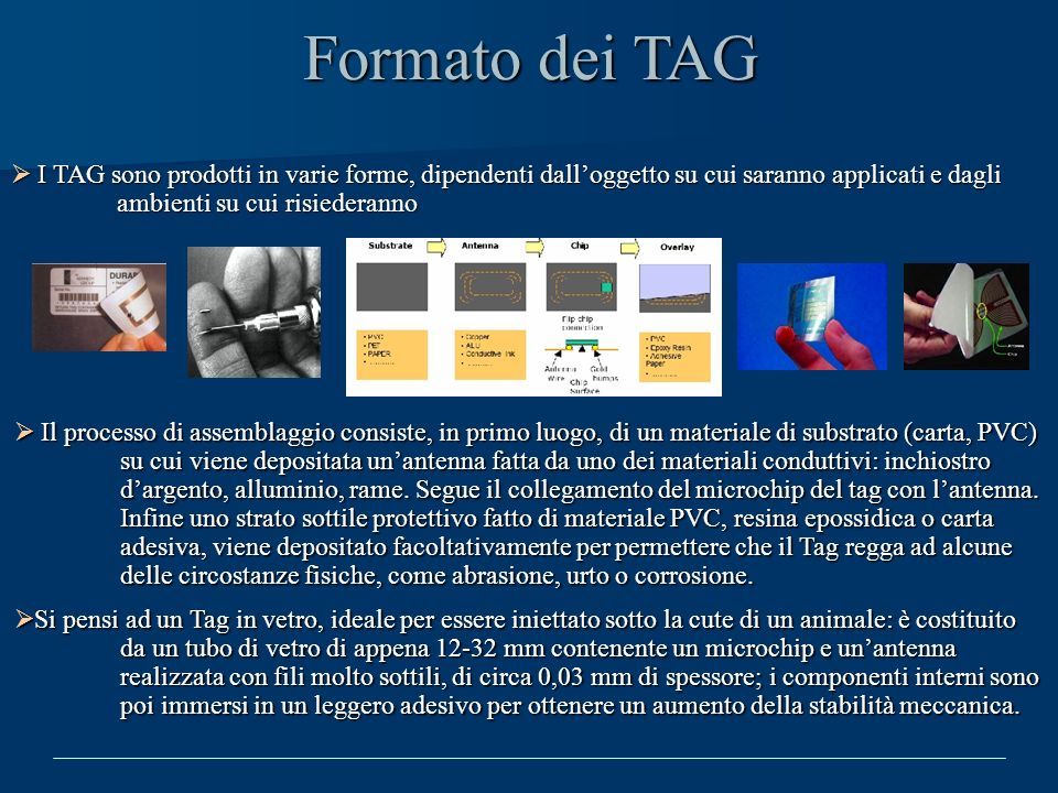 Formato dei TAG I TAG sono prodotti in varie forme, dipendenti dall'oggetto su cui saranno applicati e dagli ambienti su cui risiederanno.