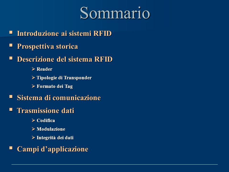 Sommario Introduzione ai sistemi RFID Prospettiva storica