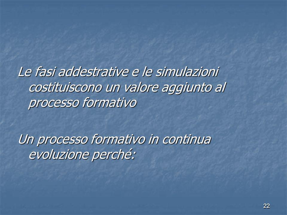 Le fasi addestrative e le simulazioni costituiscono un valore aggiunto al processo formativo