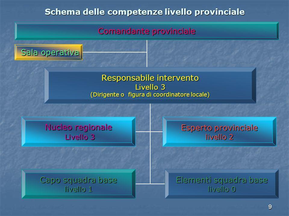 Schema delle competenze livello provinciale