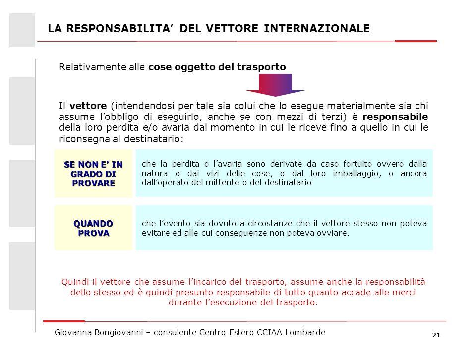 LA RESPONSABILITA' DEL VETTORE INTERNAZIONALE