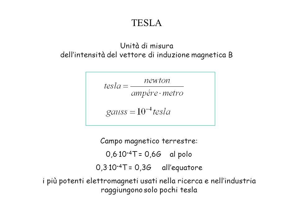 TESLA Unità di misura dell'intensità del vettore di induzione magnetica B. Campo magnetico terrestre:
