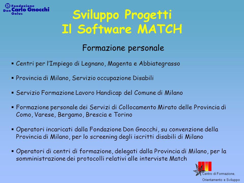 Sviluppo Progetti Il Software MATCH Formazione personale