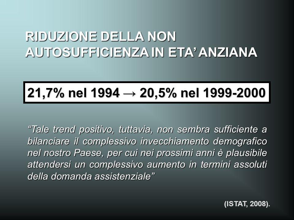 RIDUZIONE DELLA NON AUTOSUFFICIENZA IN ETA' ANZIANA